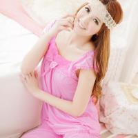 lingling日系 全尺碼-玫瑰方領圓點二件式睡衣組(甜心粉)A867-01
