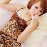 lingling日系 全尺碼-狂野花豹圖紋細肩帶二件式睡衣組(咖啡豹紋)A659-02