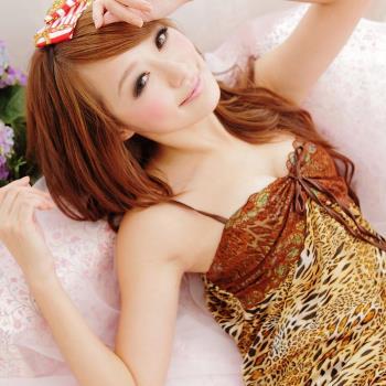 lingling日系 全尺碼-性感蕾絲豹紋細肩帶二件式睡衣組(野感豹紋)A659-01