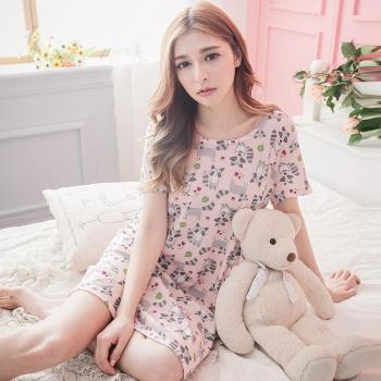 lingling日系 全尺碼-可愛狸貓葉子點點短袖連身裙睡衣(甜漾粉)A2990