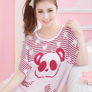 lingling日系 全尺碼-條紋眼圈熊貓洋裝式睡衣(亮麗紅)A1551-02