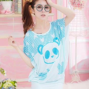 lingling日系 全尺碼-條紋眼圈熊貓洋裝式睡衣(搶眼藍)A1551-01