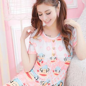 lingling日系 全尺碼-夢幻印花點點牛奶絲二件式睡衣組(清新橘粉)A1514-05