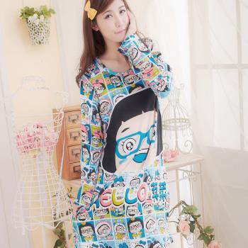 lingling日系 全尺碼-繽紛漫畫女孩居家連身睡衣(可愛藍)A1253-01