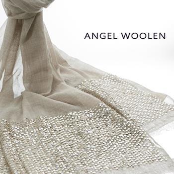 Angel Woolen 雙珠奇遇(亞麻色)Pashmina低調奢華手工披肩 圍巾
