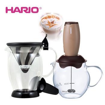 HARIO 免濾紙咖啡獨享分享杯CFO-2B  加  HARIO 電動奶泡器