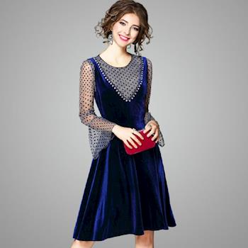 (現貨+預購 RN-girls)-【OL73538】精品小性感兩件式圓點上衣+絲絨背心裙長袖洋裝小禮服