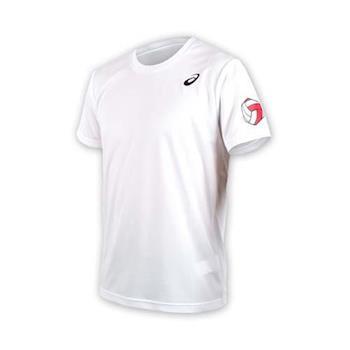 ASICS 男排球短袖印花T恤-短T  亞瑟士 白黑紅
