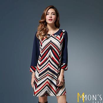 MONS法式名媛斜條紋修身洋裝(CE6510)