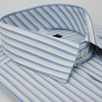【金安德森】白底藍黑線條短袖襯衫