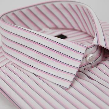 【金安德森】白底粉色線條短袖襯衫