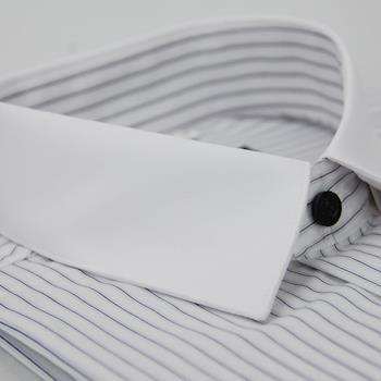 【金安德森】白底黑線條白領窄版長袖襯衫