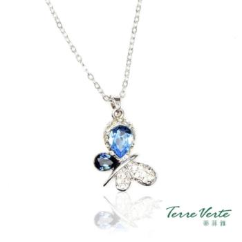 蒂菲雅Terre Verte  施華洛世奇晶飾 藍色蝴蝶項鍊 -CN-2184
