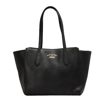 GUCCI SWING 系列荔枝紋小牛皮手提肩背購物包(小-黑色)