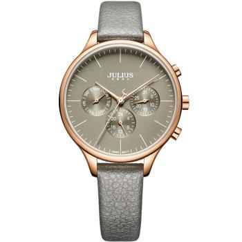【JULIUS】英倫情人三眼設計皮革錶帶腕錶(五色/37mm)