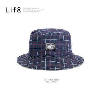 Life8-Outer 藍格紋 雙面登山帽-05288