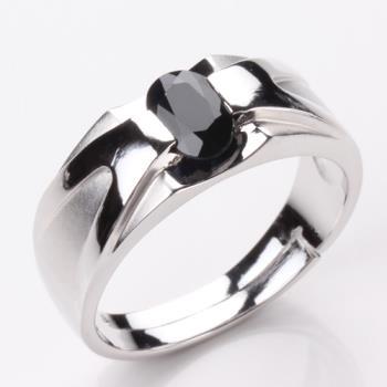 【寶石方塊】比翼雙飛天然1克拉黑藍寶石戒指-活圍設計