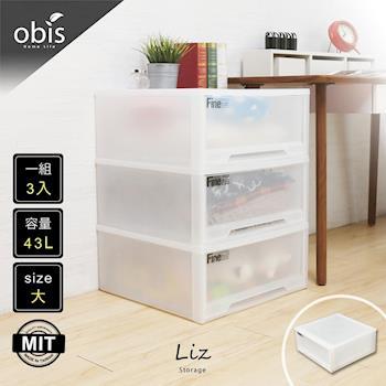 收納櫃 整理箱【obis】收納達人-Liz莉斯簡約風抽屜型收納箱(大)