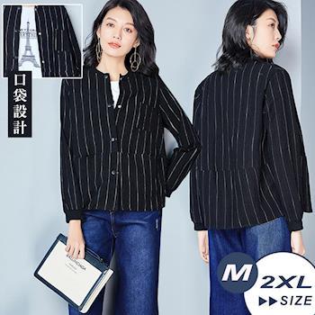 【翡嵐絲】韓版條紋短款舒適棉麻外套