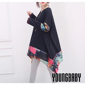 【YOUNGBABY中大碼】拼接和風蝴蝶彩布不規則襬長上衣.共2色