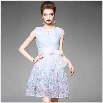 RN-girls- OL72802 清爽度UP 水藍盤花網紗蝴蝶結無袖洋裝