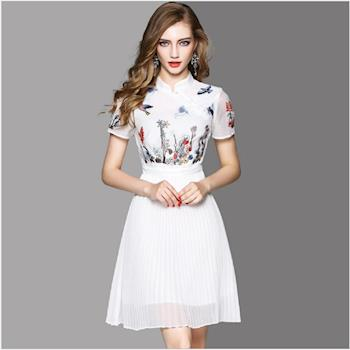 RN-girls- OL72925 中國風改良旗袍百摺繡花短袖洋裝