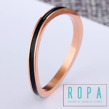 316鈦鋼細版彎曲形不規則戒指時尚玫瑰金指環【E07538】