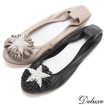 【Deluxe】全真皮水鑽之星花朵坡跟娃娃鞋(黑☆米)-119-2