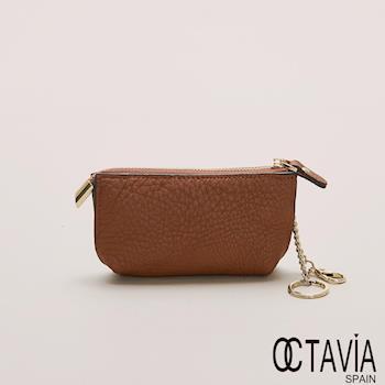 OCTAVIA 真皮 - 小船兒 隨身梯型鑰匙零錢包 - 原味棕