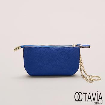 OCTAVIA 真皮 - 小船兒 隨身梯型鑰匙零錢包 - 風中藍