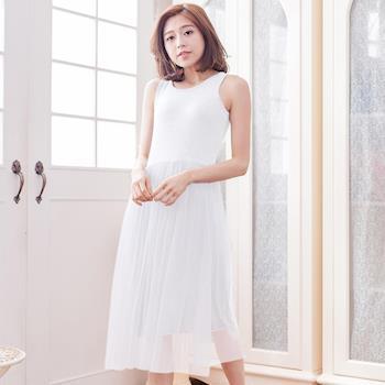 lingling中大尺碼 背心紗裙洋裝(純真白)A3016-02