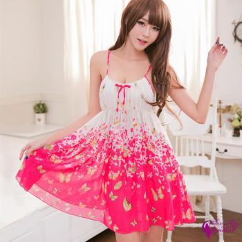 【Sexy Cynthia】性感睡衣 蝴蝶飛舞輕柔雪紡二件式睡衣