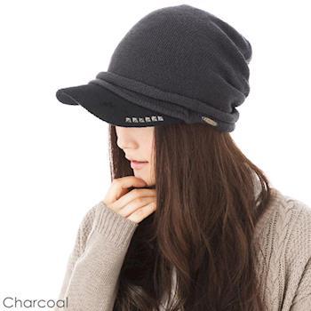 日本(QUEEN-HEND)抗寒保暖抗UV防曬個性帽(秋冬款042木炭色)