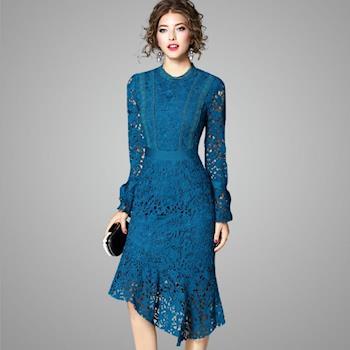 (現貨+預購 RN-girls)-【OL73291】精品極美不規則下擺水溶蕾絲魚尾裙長袖洋裝小禮服