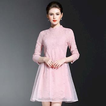 (現貨+預購 RN-girls)-【OL72005】精品兩件式蕾絲歐根紗拼接長袖洋裝小禮服