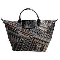 LONGCHAMP OP ART系列錯視感條紋圖案印花帆布漆皮短把手提包(中-卡其色 )