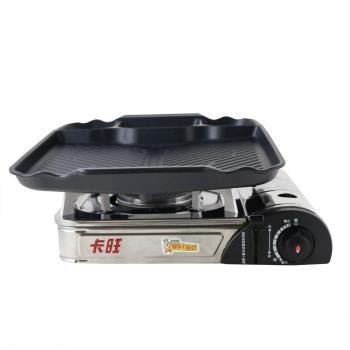 韓國KITCHEN FLOWER新款三格長型烤盤/韓國滴油烤盤 NY-3028+K-ONE卡旺-遠紅外線瓦斯爐K1-A013SC