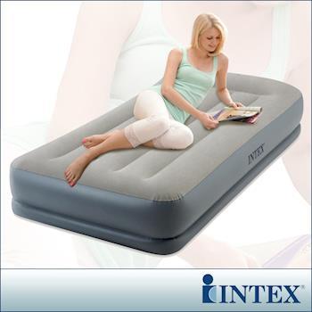 INTEX 舒適雙層單人加大內建電動幫浦充氣床墊-寬99cm(64115)