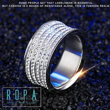 316鈦鋼時尚寬版滿天星貴氣指環18K金滿鑽戒指【E07520】