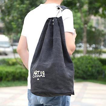 【Acorn*橡果】韓版休閒大容量帆布後背包6560(黑色)