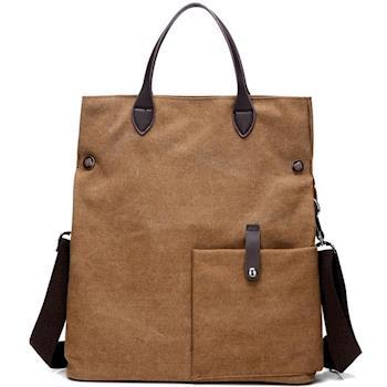 【Acorn*橡果】韓版低調時尚帆布斜背包6558(咖啡色)