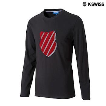 K-Swiss Shield Logo Tee印花長袖T恤-男-黑