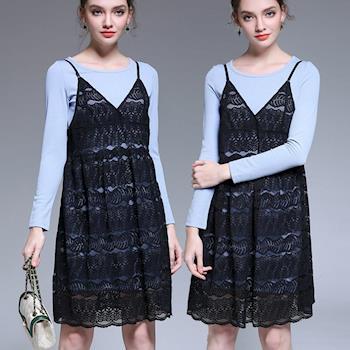 麗質達人中大碼 - HN5015針織上衣+吊帶裙二件式洋裝(L-5XL) L-5XL