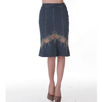 【ARH】多片式修身剪裁刺繡縫珠牛仔裙(亮麗)