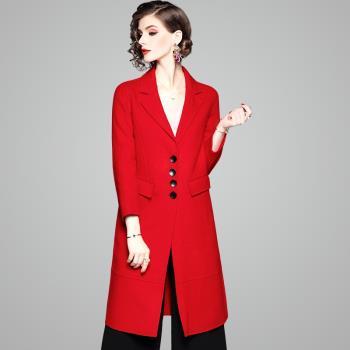 (現貨+預購 RN-girls)-【OL73626】精品精緻口袋羊毛中長款純色毛呢長大衣外套