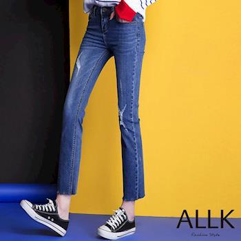 【ALLK】刷白/破洞/9分/藍色/牛仔褲(腰圍27-31)
