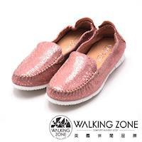 WALKING ZONE 高質感皮革休閒鞋 女鞋-粉(另有灰、藍)