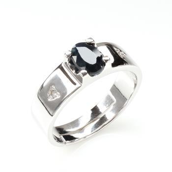【寶石方塊】相依相偎天然1克拉黑藍寶石戒指-活圍設計