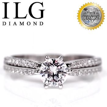 【頂級美國ILG鑽飾】八心八箭戒指 - 魅力北歐款 RI103 主鑽約75分 細緻排鑽設計 經典婚戒求婚戒(白K金色)