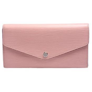 LV M61216 經典EPI水波紋皮革SARAH信封形釦式長夾(芭蕾粉色)